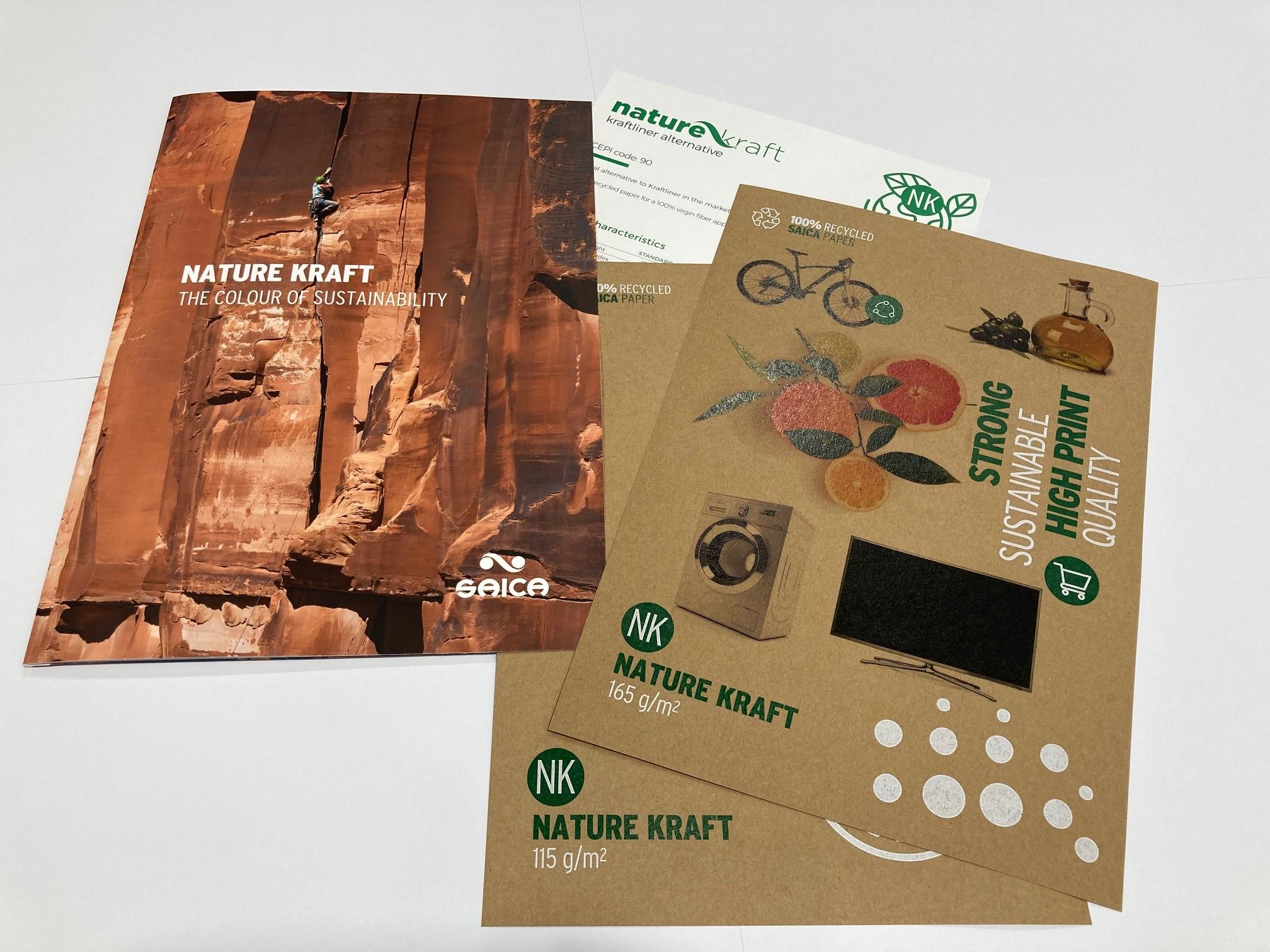 Muestra de los nuevos gramajes de la gama de papel Nature Kraft.